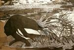 Nataša Ač, ''Prošlost'', crne i bijele keramičke olovke, 41x64 cm