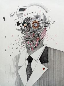 Tin Samaržija, ''Zoon politikon'', crtež rapidografom, 50x35 cm