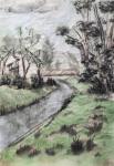 """Jasenka Smrekar, """"Moj potok"""", akvarelni tuš na rižinom papiru, 33x23 cm"""