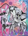 Krešimira Gojanović, ''Proljeće kentaura 2021'', tuš / akvarel na papiru, 50x40 cm