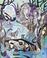 Krešimira Gojanović, ''Putevi lutajuće mačke 2021'', tuš / akvarel na papiru, 50x40 cm