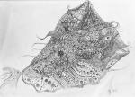 Luka Koščak, ''Avantura sa ribom iz sna'', olovka na papiru, 21x30 cm