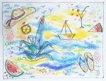 Marija Čingel, ''Ljetne vibre 1'', uljni pastel, 46x60 cm
