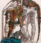 Nataša Ač, ''Žena rijeke i mora'', keramička olovka i tuš, 32×34 cm