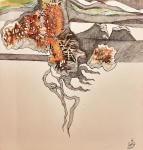 Nataša Ač, ''Zov prirode'', keramička olovka i tuš, 32×34 cm