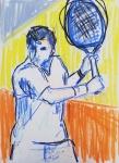 Paolo Patrick Hrga, ''Reketiranje'', suhi pastel, 42x29,7 cm