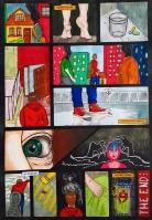 Tena Naglić, ''Bio je samo san'', strip - tuš, pero i alkoholni flomasteri, 41,5 x 28,5 cm