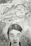Tena Naglić, ''Most dobra i zla'', olovka na papiru, 41,5 x 28,5 cm
