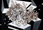 Tin Samaržija, ''Kompozicija I'', crtež rapidografom, 50x70 cm