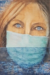 Marija Čingel, ''Potapanje identiteta'', akril i ugljen na papiru, 91x61 cm