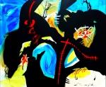 Mladen Žunjić, ''Plavo putovanje'', akril na platnu, 100x120 cm.m.
